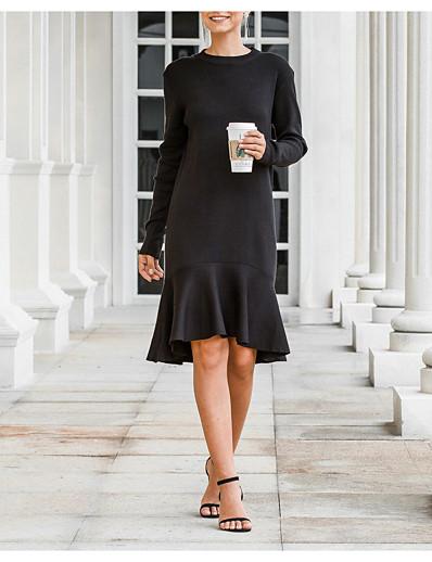 cheap White Dresses-Women's Sweater Jumper Dress Knee Length Dress - Long Sleeve Fall Winter Work Elegant Loose 2020 Black One-Size