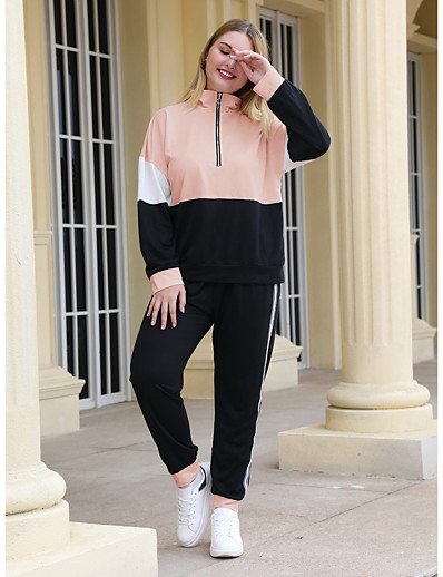 cheap Plus Size Loungewear-Women's Basic Color Block Two Piece Set Stand Collar Hoodie Pant Patchwork Tops / Slim