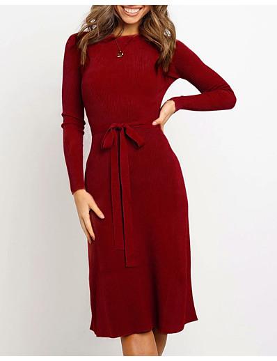 cheap White Dresses-Women's Sweater Jumper Dress Knee Length Dress - Long Sleeve Fall Winter 2020 Black Wine Khaki S M L XL