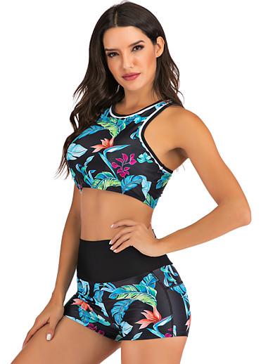 cheap SWIMWEAR-Women's Two Piece Tankini Swimsuit Print Leaf Swimwear Bathing Suits Blue