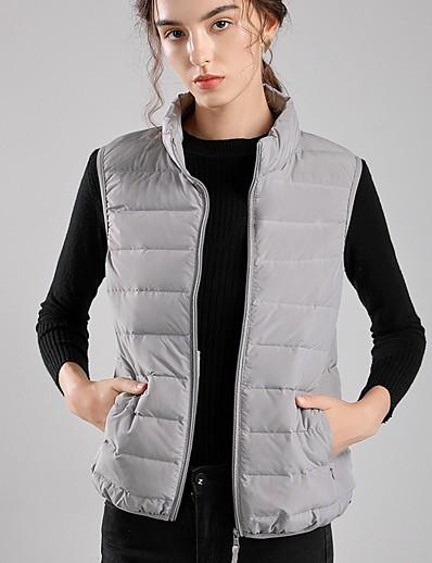 cheap Down& Parkas-Women's Vest Parka Solid Colored Nylon White / Black / Red S / M / L