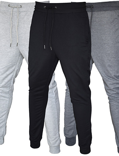 cheap Running, Jogging & Walking-Men's Sweatpants Joggers Casual Bottoms Drawstring Pocket Cotton Fitness Gym Workout Performance Running Training Breathable Soft Sweat wicking Normal Sport Solid Colored Black Dark Gray Light Gray