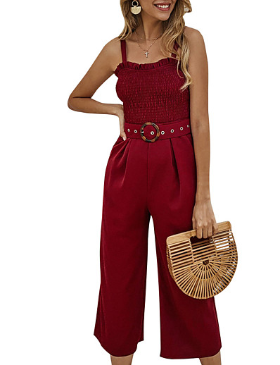 cheap Jumpsuits & Rompers-Women's Basic Black Wine Green Jumpsuit Solid Colored Backless