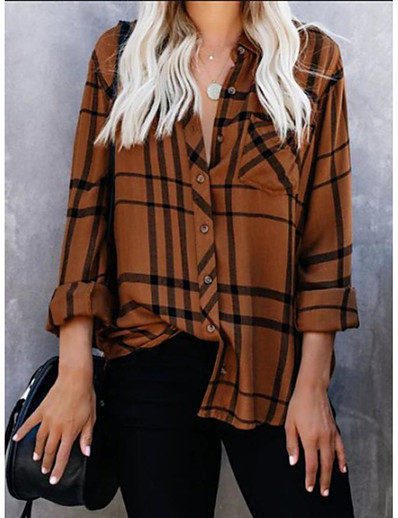 cheap Blouses & Shirts-Women's Blouse Shirt Plaid Check Long Sleeve Print Shirt Collar Tops Basic Basic Top Blue Red Brown