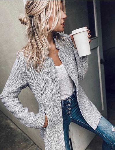cheap OUTERWEAR-Women's Fall & Winter Single Breasted Coat Long Striped Daily Basic Dark Gray Gray XS S M L / Slim