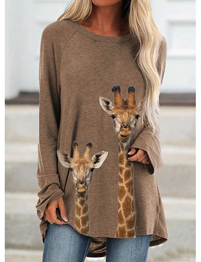 cheap Tees & T Shirts-Women's Tunic Animal Graphic Prints Long Sleeve Print Round Neck Tops Basic Basic Top Khaki