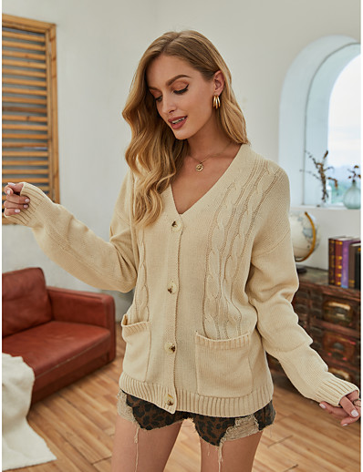 cheap NEW IN-Women's Basic Embroidery Knitted Solid Color Cardigan Long Sleeve Loose Sweater Cardigans Open Front Fall Winter Beige