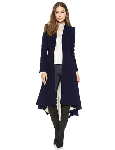 cheap Outerwear-Women's Coat Solid Colored Basic Fall & Winter Long Daily Long Sleeve Polyster Coat Tops Black