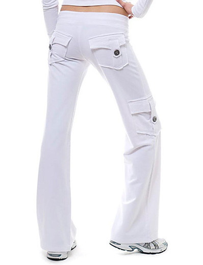 cheap Women's Pants-Women's Sporty Streetwear Outdoor Daily Bootcut Pants Pants Solid Colored Full Length Pocket Patchwork White Black Blue Green Gray