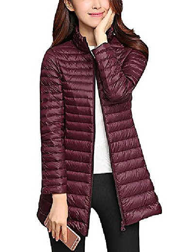 cheap Down& Parkas-women's lightweight puffer down jacket coat,ultralight slim packable hooded warm casual sports travel parka outerwear bordeaux