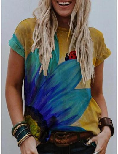 cheap TOPS-Women's T-shirt Floral Animal Flower Print Round Neck Tops Basic Basic Top Yellow Gray