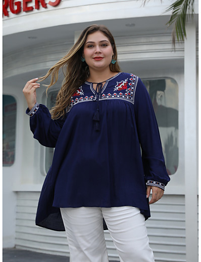 cheap Plus Size Tops-Women's T-shirt Solid Colored Long Sleeve Print V Neck Tops Loose Basic Basic Top Blue