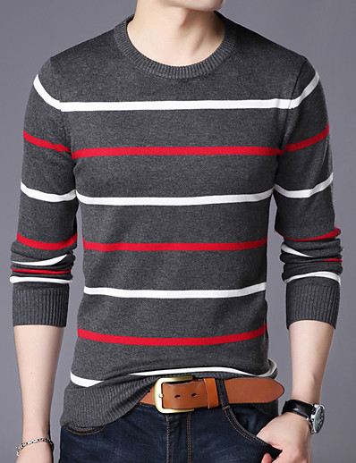 cheap NEW IN-Men's Christmas Boho Glitter Knitted Braided Leopard Striped Color Block Pullover Long Sleeve Sweater Cardigans Crew Neck Spring Fall White Dark Gray Navy Blue