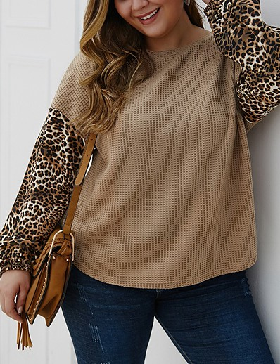 cheap Plus Size Sweaters-Women's Basic Knitted Leopard Cheetah Print Pullover Long Sleeve Plus Size Sweater Cardigans Crew Neck Fall Black Blue Khaki