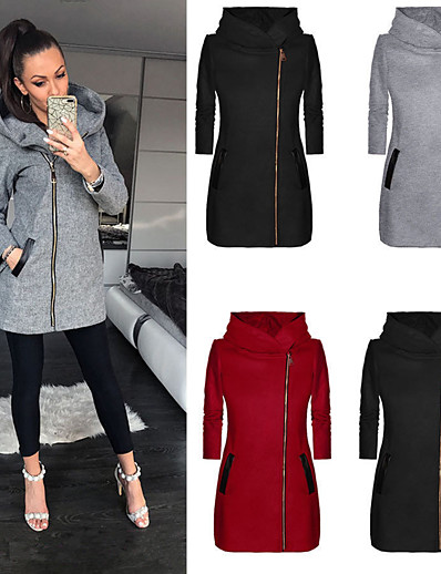 cheap Sports Athleisure-Women's Hoodie Sweatshirt Coat Zipper Hoodie Cotton Solid Color Sport Athleisure Pullover Long Sleeve Warm Soft Comfortable Everyday Use Exercising General Use