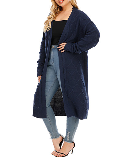 cheap Plus Size Sweaters-Women's Basic Check Pattern Solid Color Cardigan Long Sleeve Plus Size Loose Sweater Cardigans Open Front Fall Winter Blue