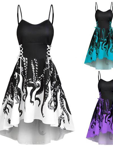 cheap HALLOWEEN 2020-Women's Strap Dress Knee Length Dress - Sleeveless Print Patchwork Summer Sexy Daily Slim 2020 Black Blue Purple S M L XL XXL