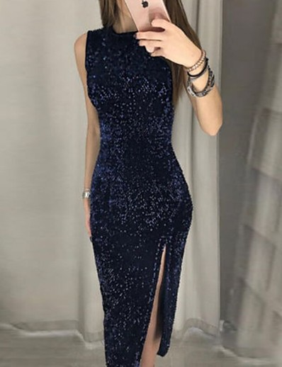 cheap Party Dresses-Women's Sheath Dress Maxi long Dress - Sleeveless Solid Color Split Patchwork Fall Sexy Party Club Slim 2020 Navy Blue S M L XL