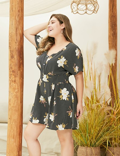 cheap Jumpsuits & Rompers-Women's Plus Size Basic V Neck Black Loose Romper Floral Color Block Print