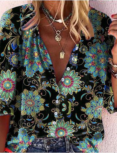 cheap TOPS-Women's Blouse Shirt Polka Dot Abstract Long Sleeve Print V Neck Tops Basic Basic Top Black Green Blue