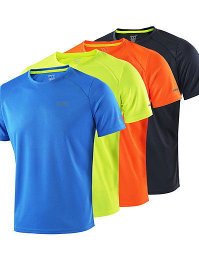 cheap Running, Jogging & Walking-Arsuxeo Men's Short Sleeve Running Shirt Tee Tshirt Top Athletic Summer Quick Dry Breathable Soft Fitness Gym Workout Basketball Running Cycling Sportswear Solid Colored Normal fluorescent yellow