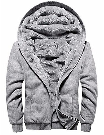 cheap Men's Outerwear-men's pullover winter fleece hoodie jackets full zip warm thick coats grey large