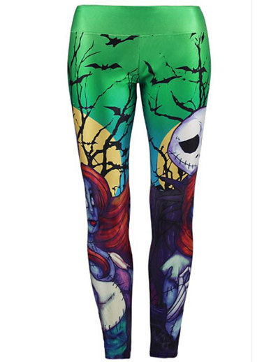 cheap 10/16/2020-Women's Basic Daily Sweatpants Pants Skull Breathable Green S M L