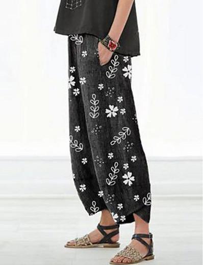 abordables Bas pour femmes-Femme basique Ample Chino Pantalon Imprimé Noir Rouge Gris Clair