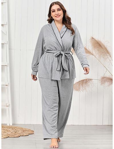 abordables Vêtements d'intérieur grande taille-Femme Mélange de Coton Costumes XL Gris