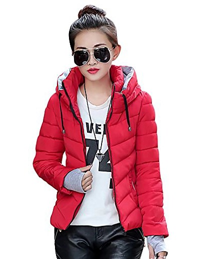 cheap Plus Size Outerwear-womens winter jacket parkas thicken plus size outerwear solid hooded coats short slim cotton padded basic tops,medium,red