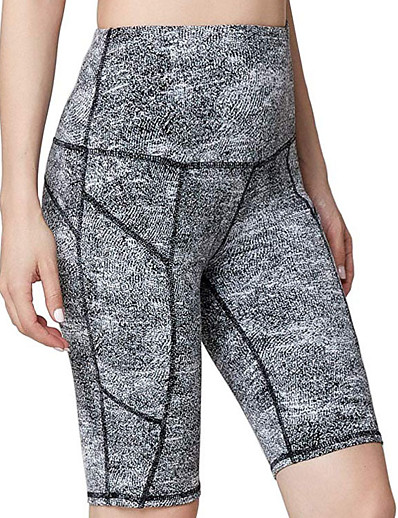 cheap Women's Bottoms-Women's Basic Breathable Slim Daily Shorts Pants Striped Knee Length High Waist Black Gray