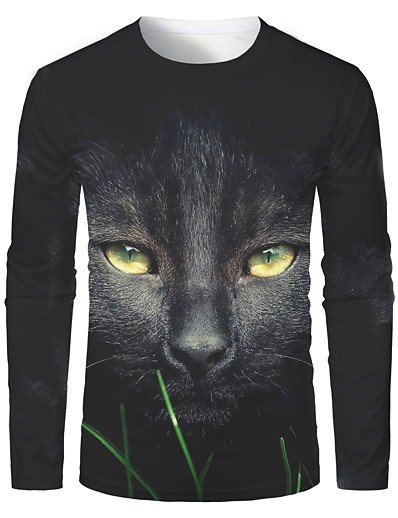 cheap MEN-Men's Graphic Animal T-shirt Long Sleeve Daily Tops Basic Round Neck Black