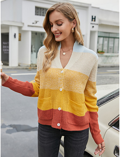 cheap 2020 F/W-Women's Basic Knitted Rainbow Cardigan Long Sleeve Sweater Cardigans Open Front Fall Winter Rainbow