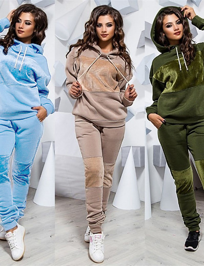 cheap Two Piece Set-Women's 2-Piece Splice Tracksuit Sweatsuit Jogging Suit Street Athleisure Long Sleeve Winter Velour Windproof Breathable Soft Gym Workout Running Jogging Exercise Sportswear Solid Colored Outfit Set