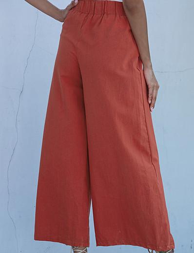 cheap Women's Bottoms-womens cotton trousers soft palazzo wide leg pant high waist casual loose flowy pants tie front 068 orange medium