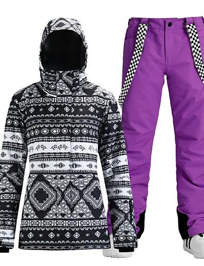 cheap SPORTSWEAR-Women's Ski Jacket with Pants Skiing Snowboarding Winter Sports Waterproof Windproof Warm 100% Polyester Clothing Suit Ski Wear