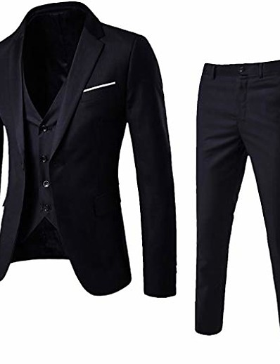 cheap Blazers-3-piece blazer jacket men's slim suit coat tuxedo party business wedding party jacket vest & pants (black, xxxl)