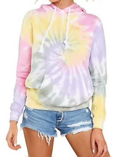 cheap Hoodies & Sweatshirts-Women's Pullover Hoodie Sweatshirt Tie Dye Basic Hoodies Sweatshirts  Blushing Pink Light Green