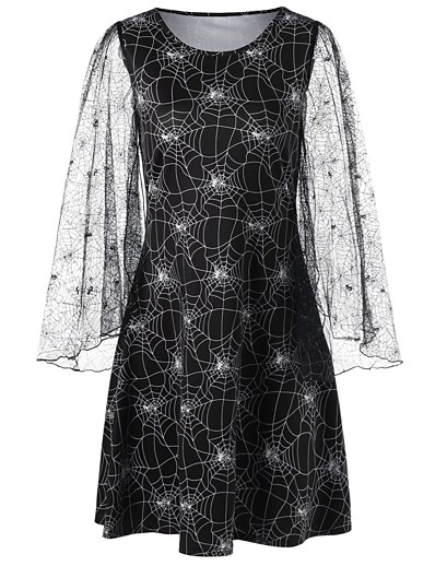 cheap HALLOWEEN-Women's Sheath Dress Knee Length Dress - Long Sleeve Print Lace Fall Casual Hot vacation dresses 2020 Black S M L XL XXL