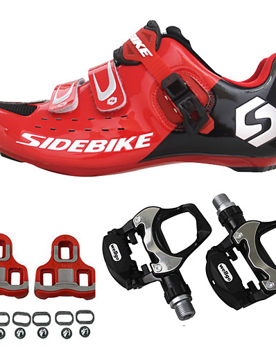 abordables Cyclisme-SIDEBIKE Adulte Chaussures Velo avec Pédale & Fixation Chaussures Vélo Route Fibre de Carbone Coussin Cyclisme Rouge Homme Chaussures Vélo / Chaussures de Cyclisme / Grille respirante