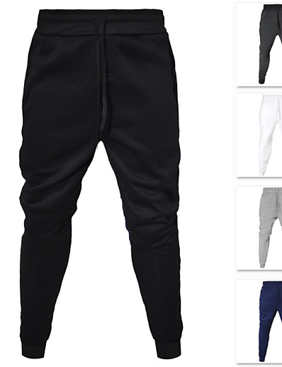 cheap Running, Jogging & Walking-Men's Sweatpants Joggers Jogger Pants Track Pants Casual Bottoms Drawstring Cotton Fitness Gym Workout Performance Running Training Breathable Soft Sweat-wicking Normal Sport Solid Colored White