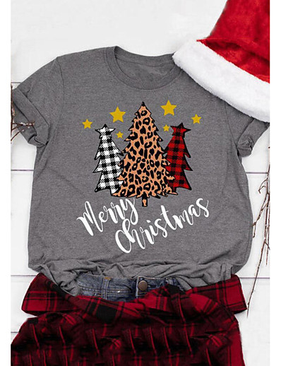 cheap Christmas Tops-Women's Christmas T-shirt Leopard Plaid Check Round Neck Tops Casual Christmas Basic Top White Black Blushing Pink