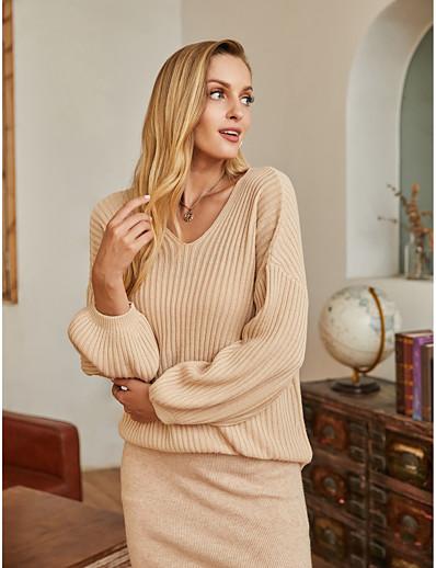 abordables En Exclusivité-Femme basique Tricoté Couleur unie Pullover Fibres acryliques Manches Longues Pull Cardigans Col en V Automne Hiver Beige