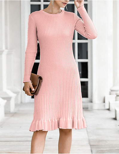 cheap White Dresses-Women's Sweater Jumper Dress Short Mini Dress - Long Sleeve Spring Fall Casual 2020 Black Blushing Pink Beige Light Blue One-Size