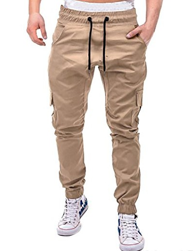 cheap Running, Jogging & Walking-Men's Joggers Tactical Cargo Pants Pants / Trousers Bottoms Fitness Casual Running Breathable Sport Solid Color Navy ArmyGreen Gray khaki Black / Micro-elastic