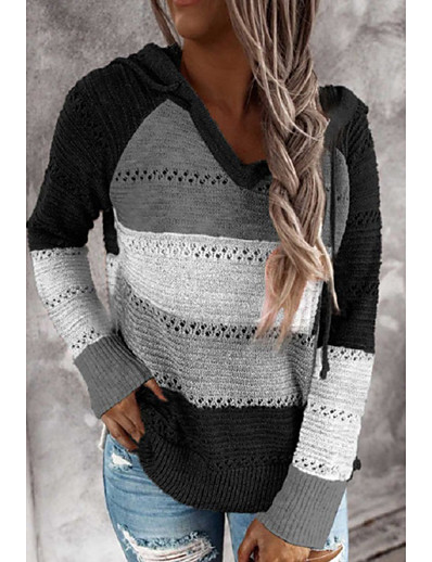 cheap Sweaters & Cardigans-Women's Stylish Knitted Color Block Pullover Long Sleeve Sweater Cardigans Hooded Fall Winter Black Blushing Pink Brown