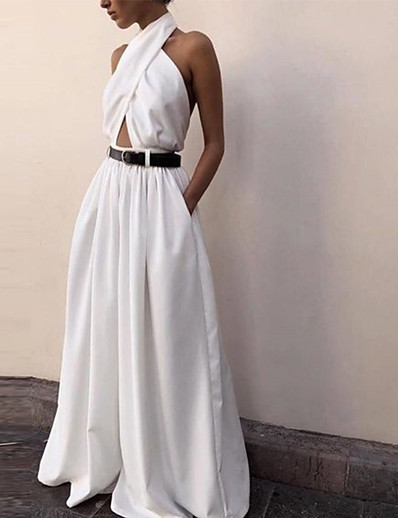 cheap CLOTHING-Women's Basic White Jumpsuit Solid Colored Backless Criss Cross