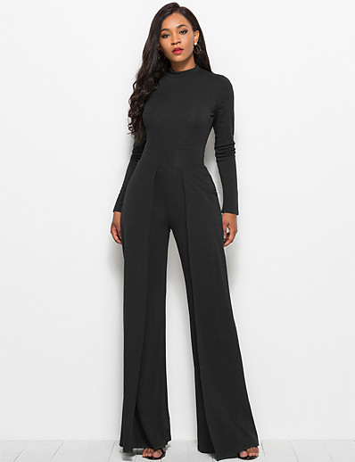 cheap JUMPSUITS & ROMPERS-Women's Ordinary Business White Black Red Jumpsuit Solid Colored