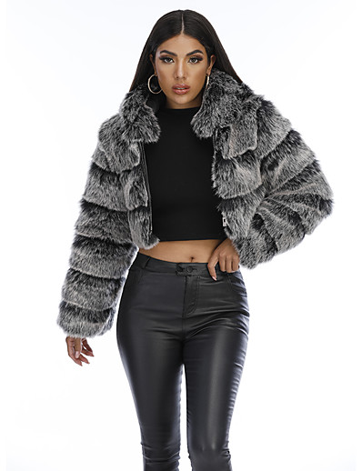 cheap Outerwear-Women's Faux Fur Coat Daily Fall & Winter Short Coat Slim Basic Jacket Long Sleeve Solid Colored Fur Trim Army Green Gray / Going out