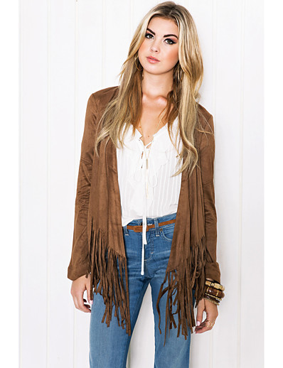 cheap OUTERWEAR-Women's Open Front Coat Long Solid Colored Daily Basic Tassel Fringe Brown S M L XL